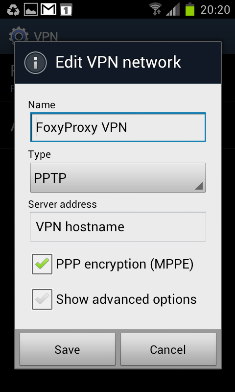"Step 5 of 10: Enter connection name. Select ""PPTP"" in the Type field. Enter VPN hostname in the ""Server address"" field. Tick ""PPP encryption (MPPE). Tap ""Save""."