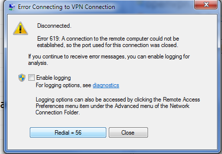 Error 619: A connection to the remote computer could not be   established, so the port used for this connection was closed.
