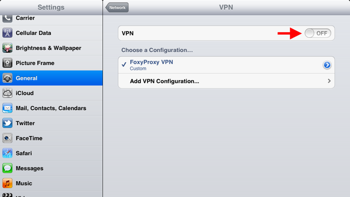 Step 6 of 9: Toggle VPN selector to ON