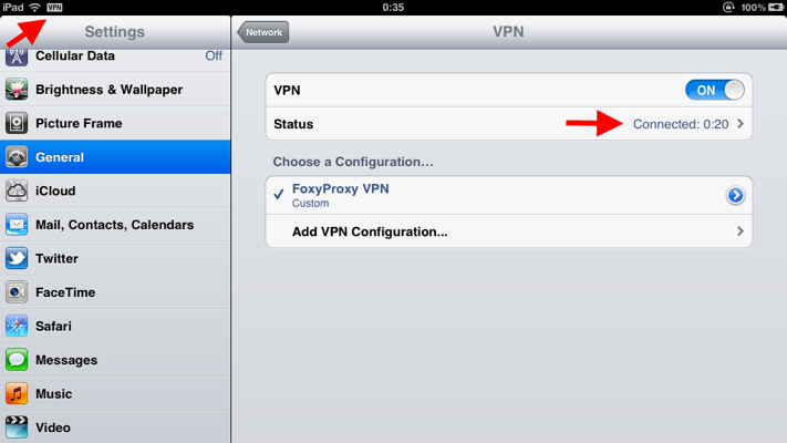 Step 8 of 9: You are now connected. To cut off the VPN connection toggle VPN selector OFF