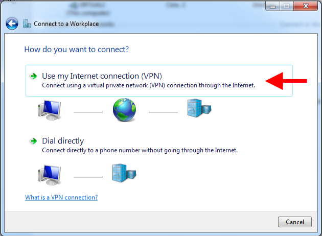 Step 6 of 15: Select 'Use my Internet connection (VPN)'