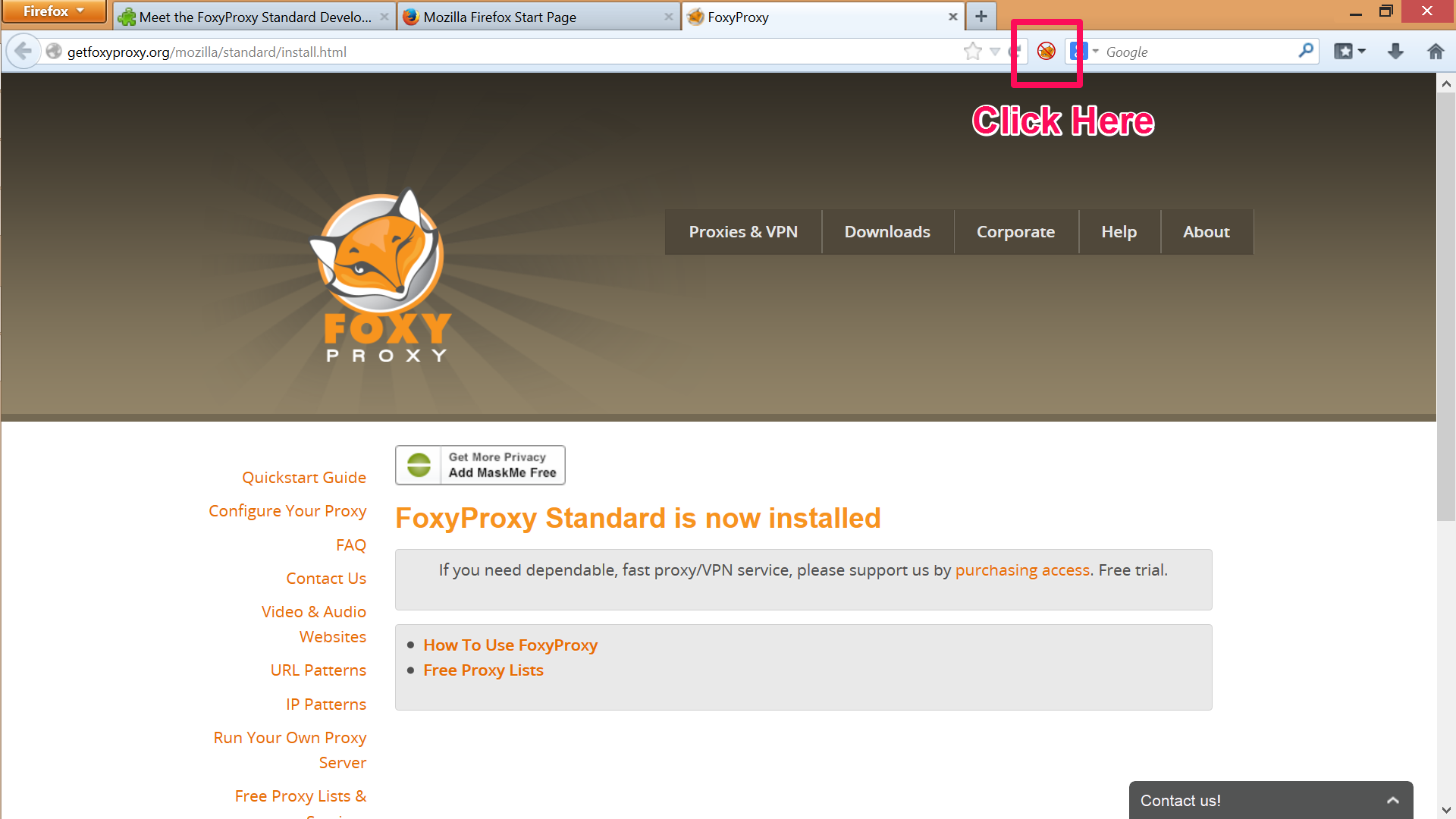 Click the FoxyProxy icon