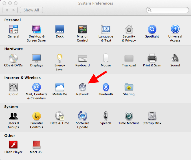Open System Preferences then click Network