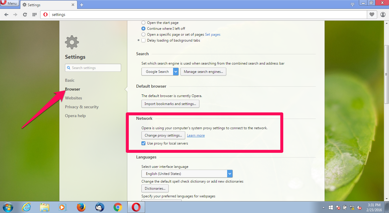 Under Settings, Click On 'browser' In The Column On The Left And Navigate