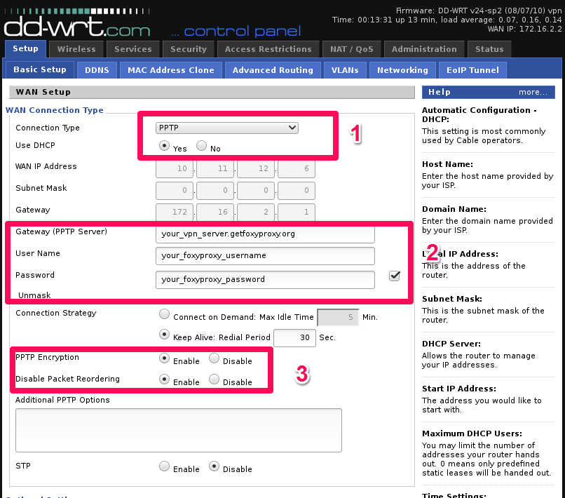 pptp menu on dd-wrt router