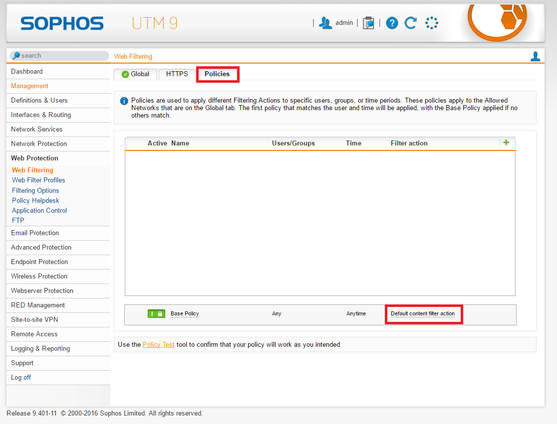 Sophos UTM: Redirect single domains through FoxyProxy Proxy